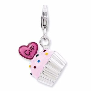 Cupcake And Heart With Lobster Clasp Charm
